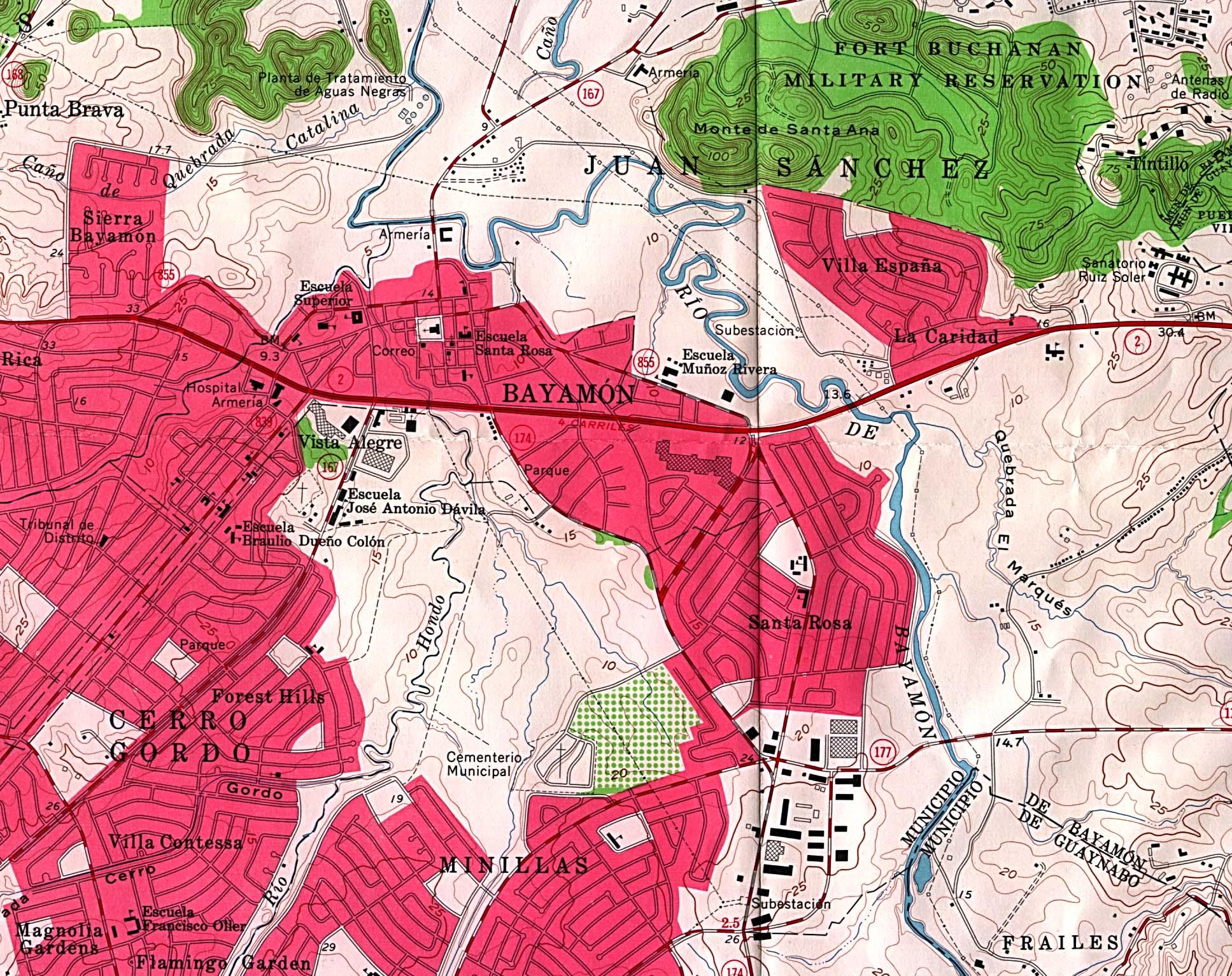 Bayamon City Map, Puerto Rico