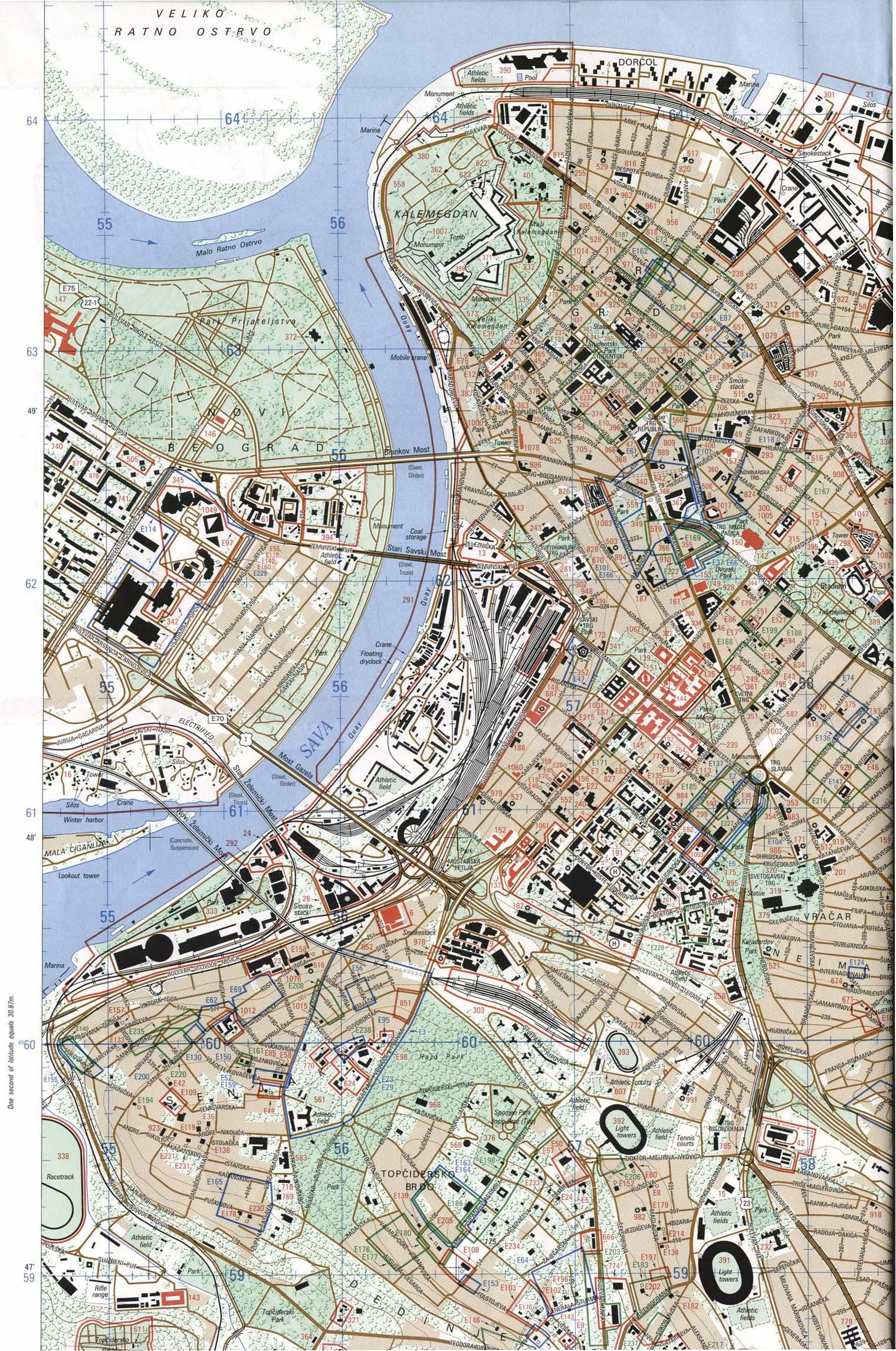 Belgrade (Beograd) City Map, Serbia