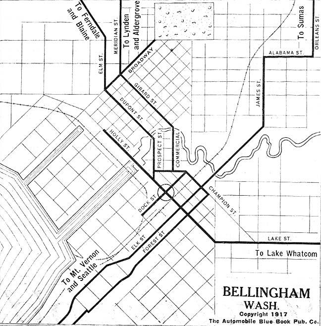 Mapa de la Ciudad de Bellingham, Washington, Estados Unidos 1917