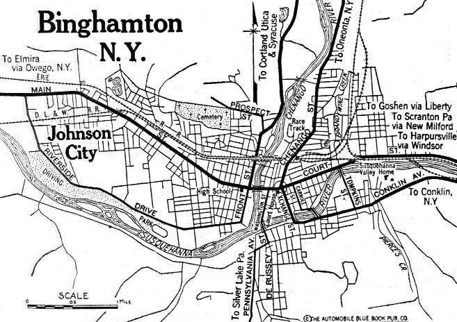 Binghamton City Map, New York, United States 1920