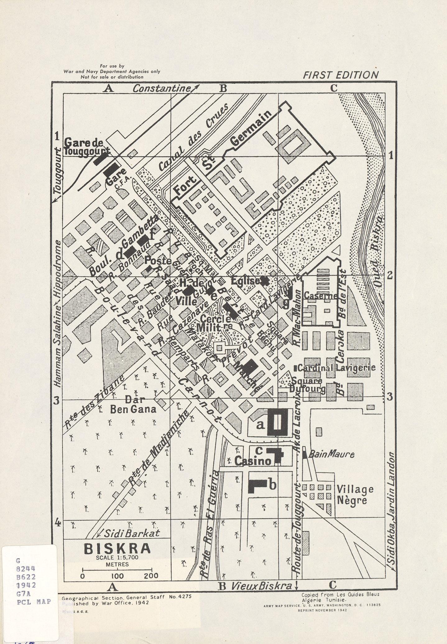 Biskra City Map, Algeria 1942