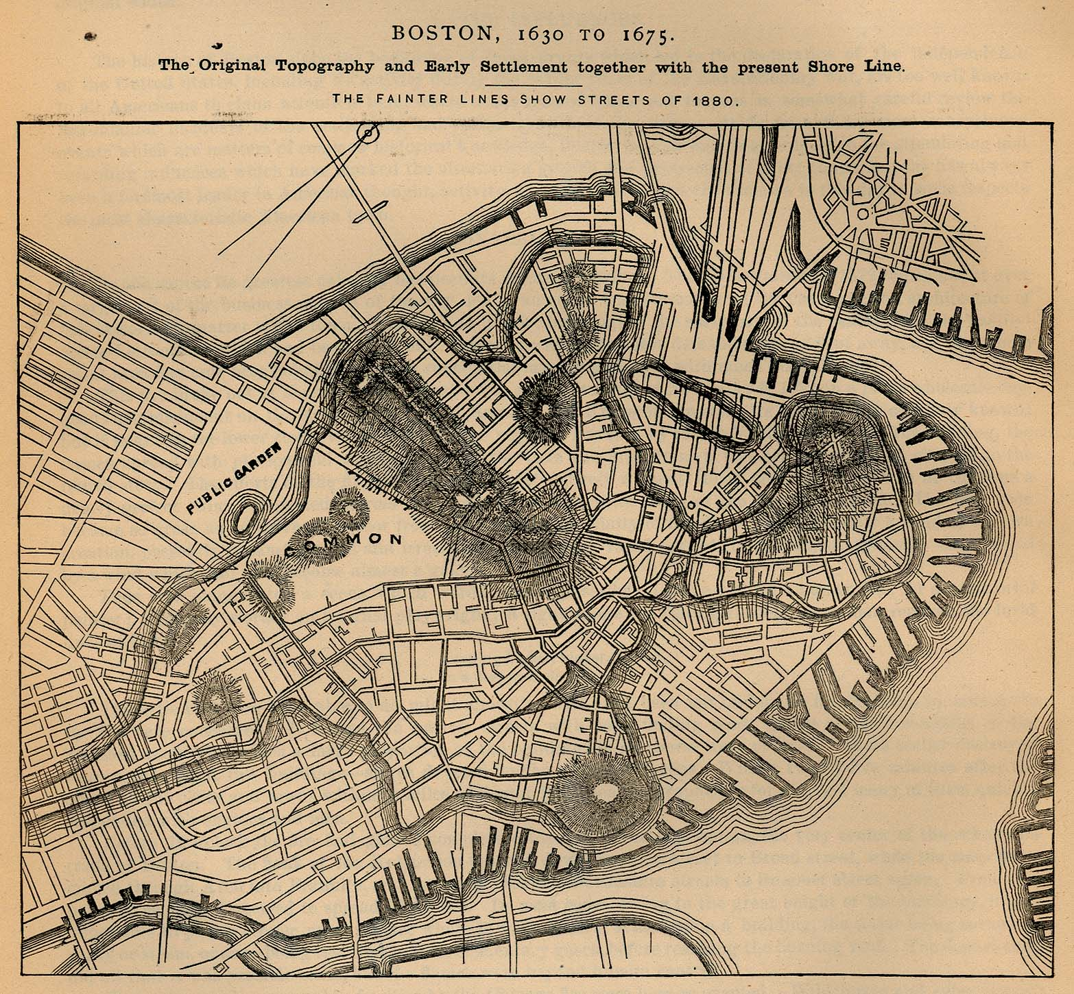 Mapa de la Ciudad de Boston, Massachusetts, Estados Unidos 1630 a 1675