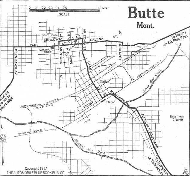 Butte City Map, Montana, United States 1917