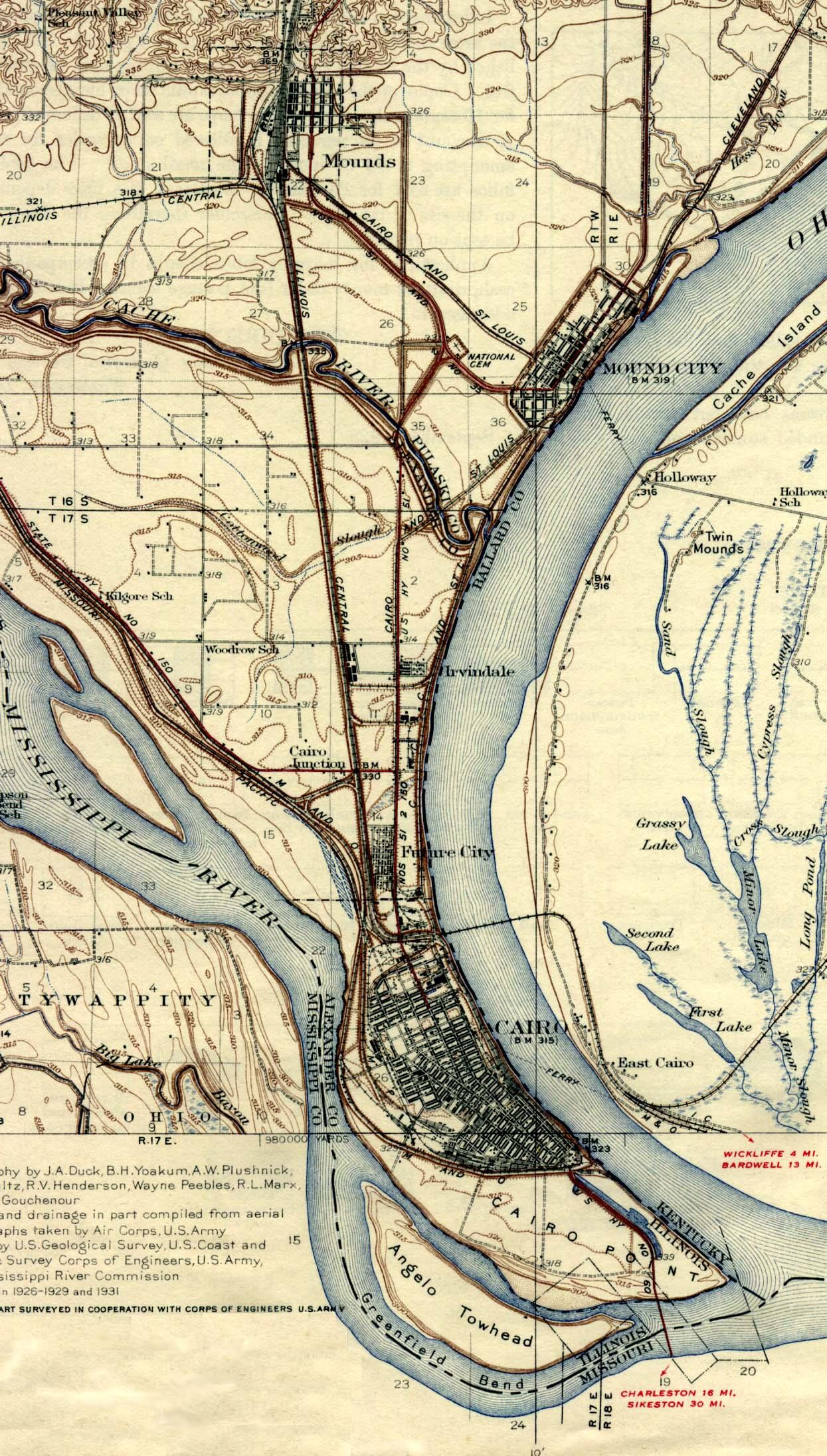 Mapa de la Ciudad de Cairo, Illinois, Estados Unidos 1945