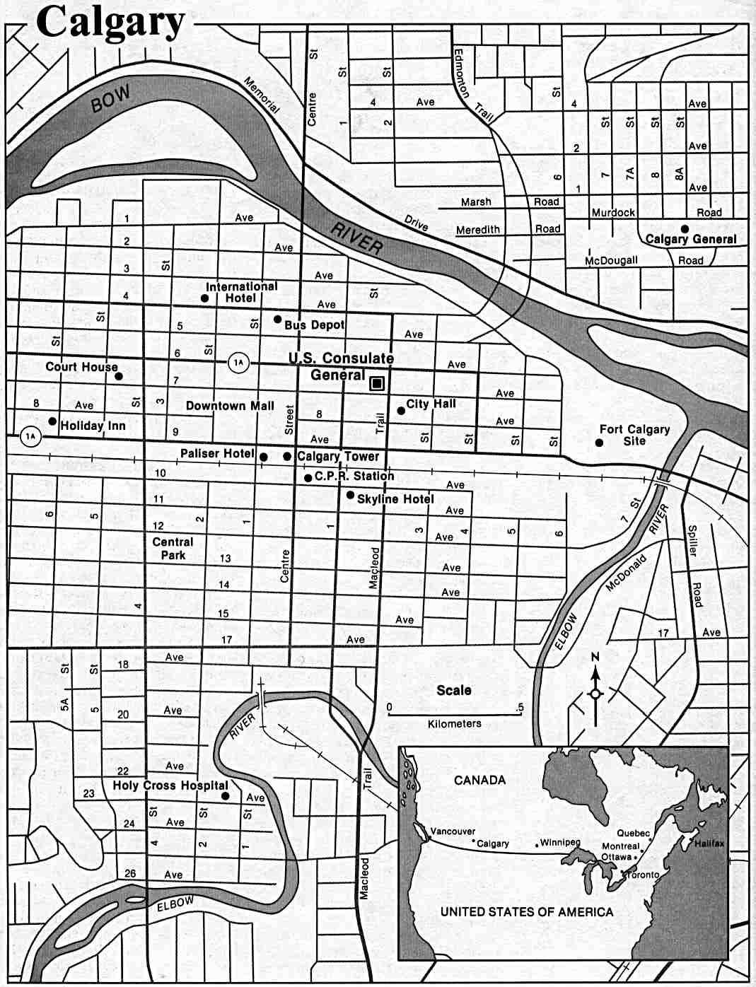 Calgary City Map, Alberta, Canada