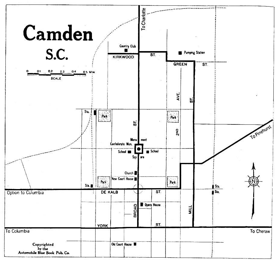 Mapa de la Ciudad de Camden, Carolina del Sur, Estados Unidos 1919