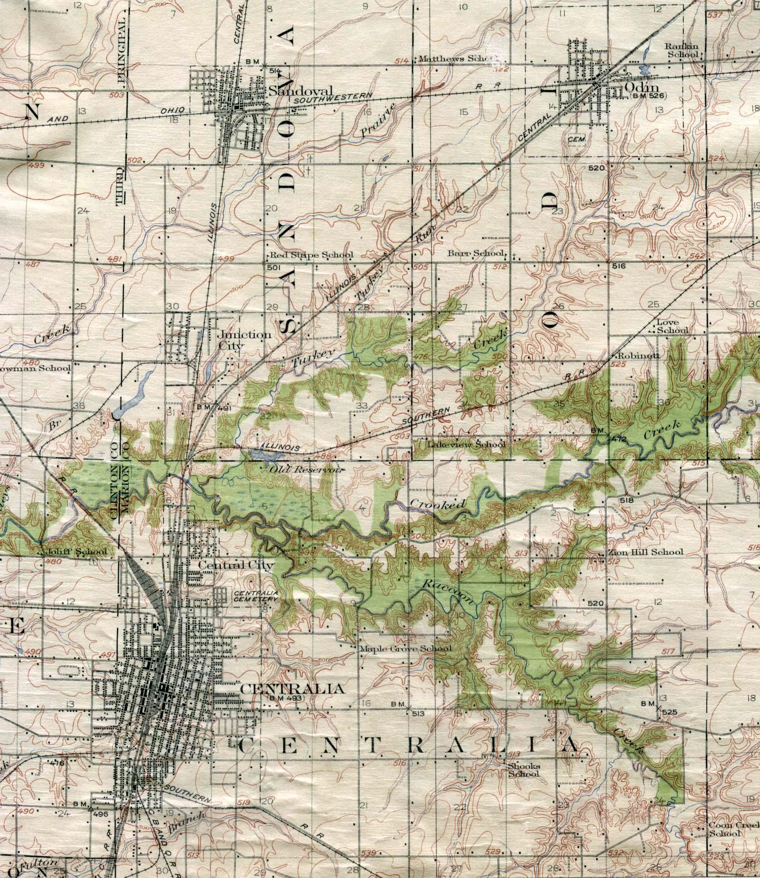 Mapa de la Ciudad de Centralia, Illinois, Estados Unidos 1914