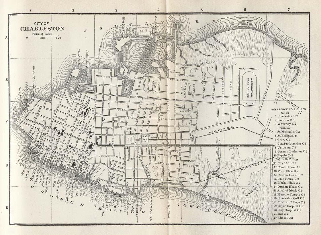 Charleston City Map, South Carolina, United States 1885