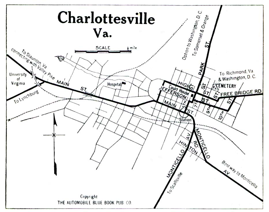 Charlottesville City Map, Virginia, United States 1919