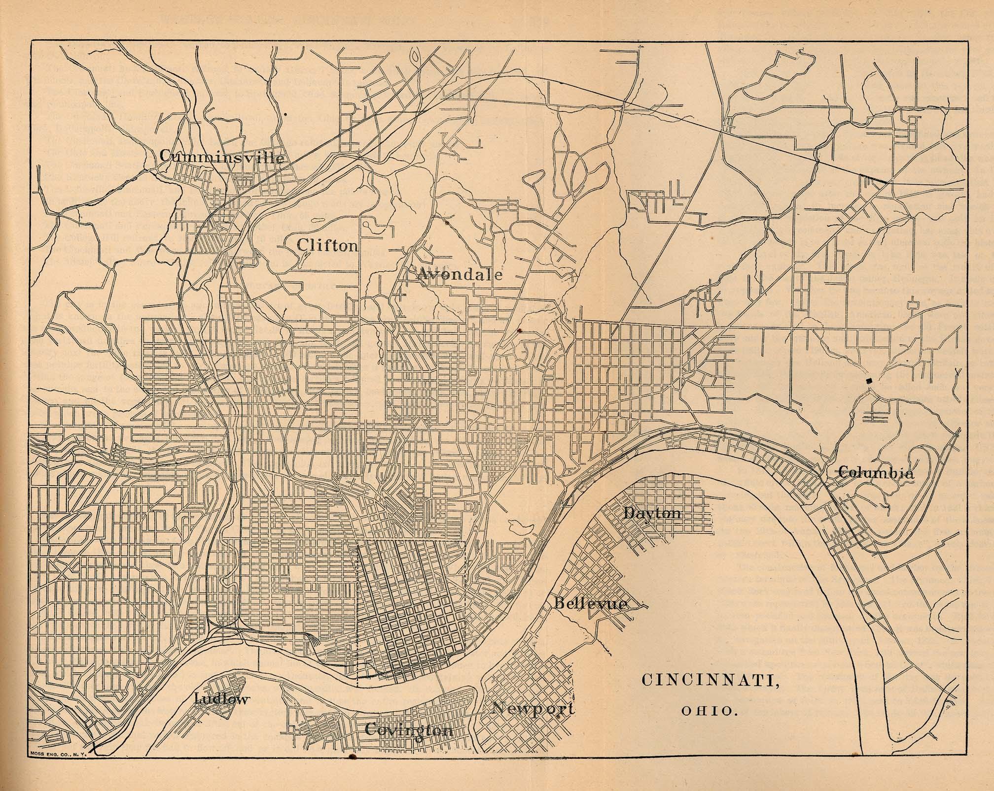 Mapa De La Ciudad De Cincinnati Ohio Estados Unidos 1880