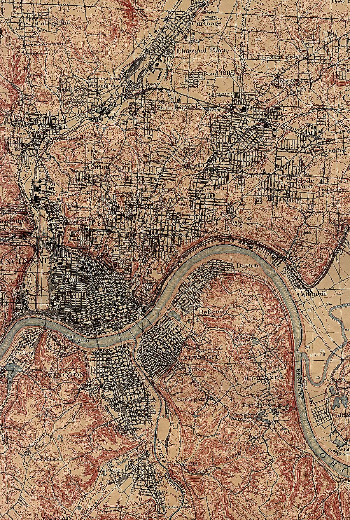 Cincinnati City Map, Ohio, United States 1914