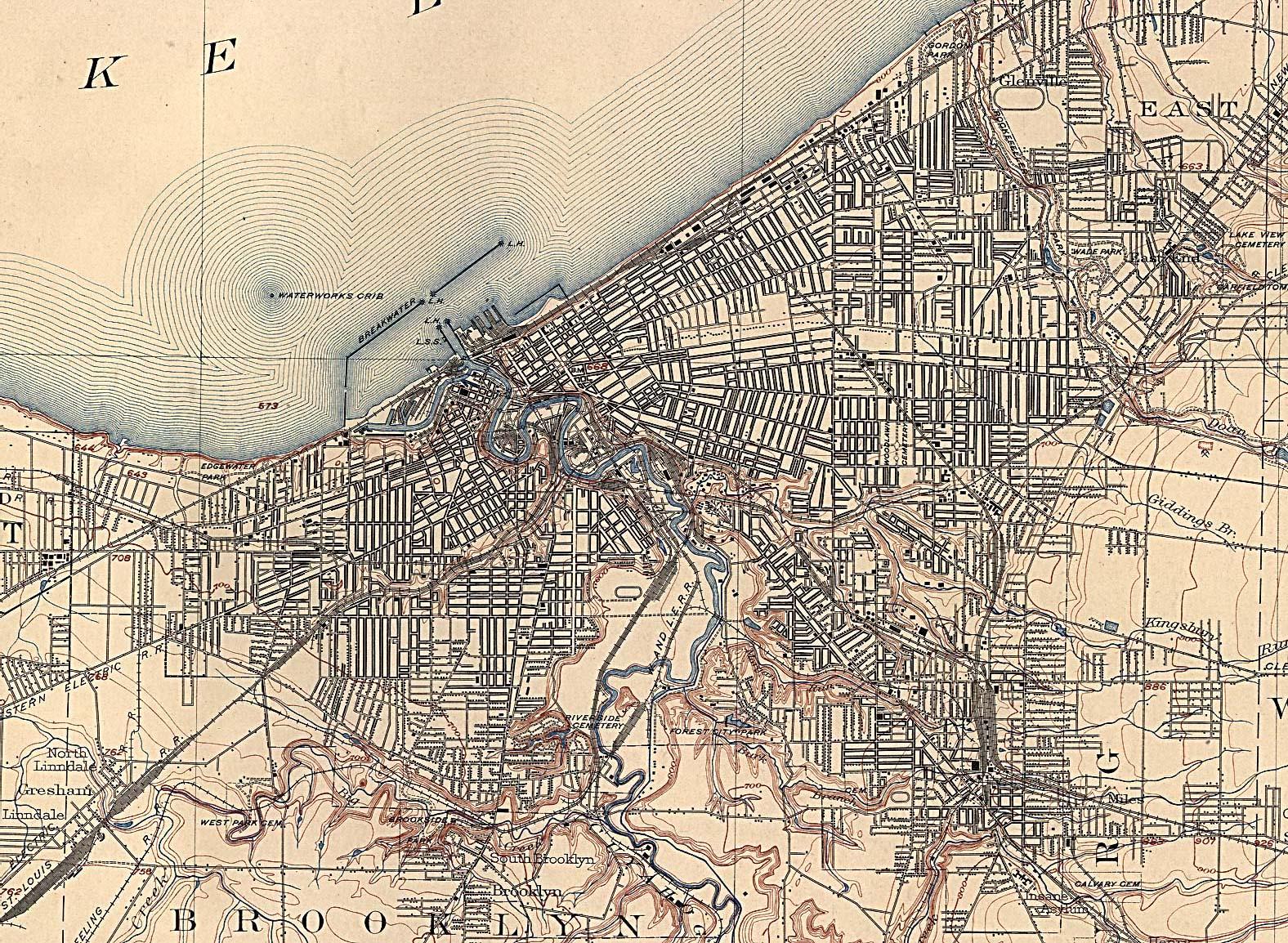 Mapa de la Ciudad de Clevely , Ohio, Estados Unidos 1904