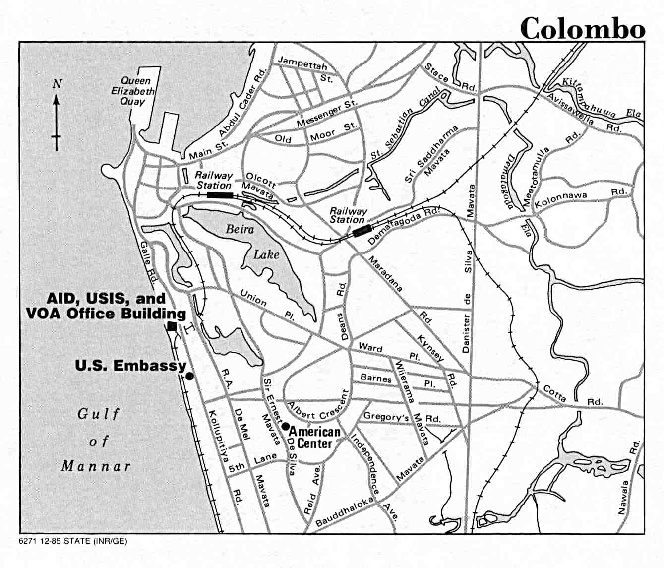Colombo City Map, Sri Lanka 1985