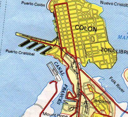 Mapa de la Ciudad de Colón, Panamá