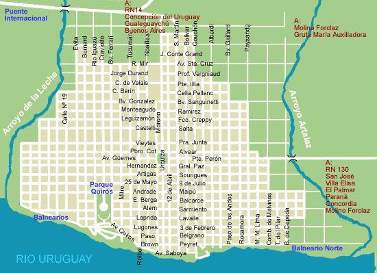 Colón City Map, Prov. Entre Rios, Argentina