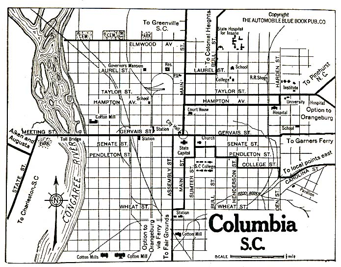 Columbia City Map, South Carolina, United States 1920