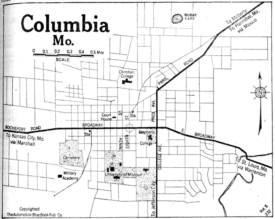 Columbia City Map, Missouri, United States 1920