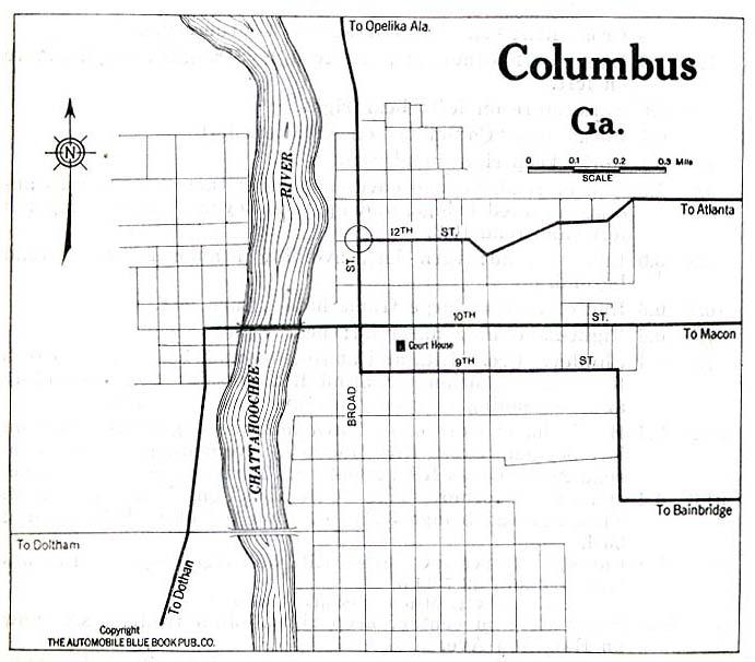 Columbus City Map, Georgia, United States 1919