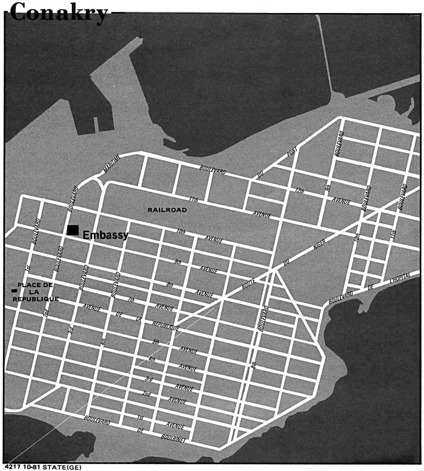 Mapa de la Ciudad de Conakry, Guinea