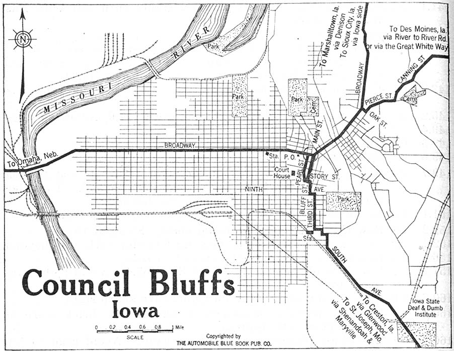 Mapa de la Ciudad de Council Bluffs, Iowa, Estados Unidos 1920
