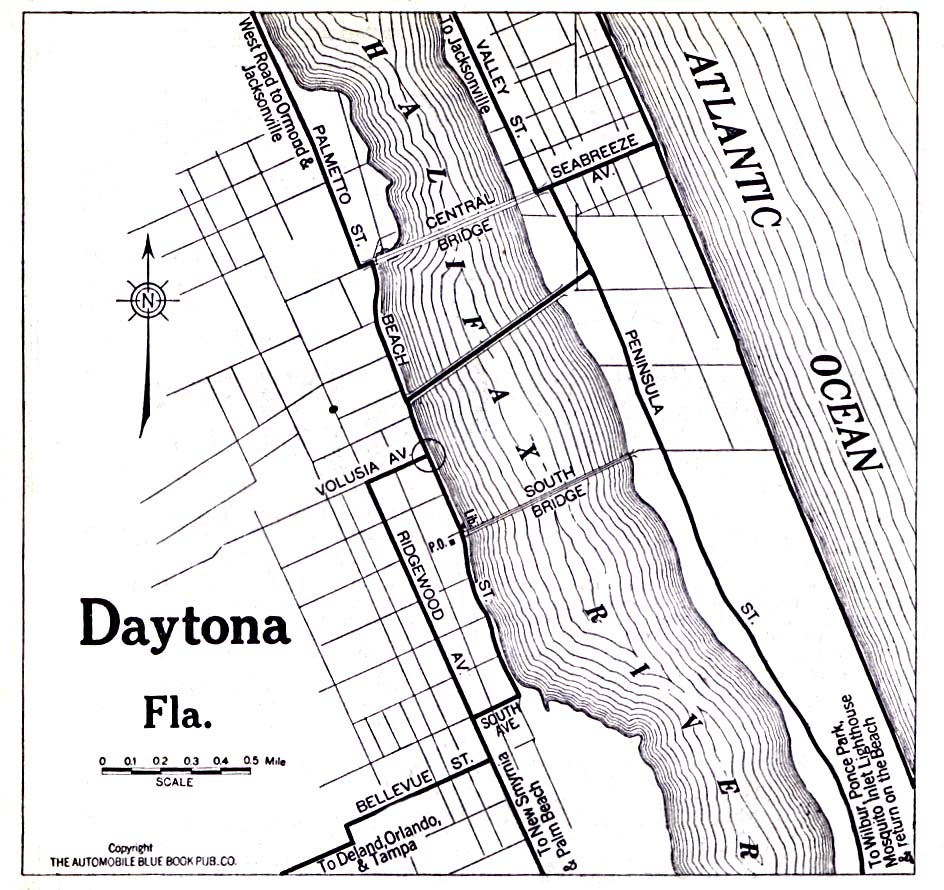 Daytona City Map, Florida, United States 1919