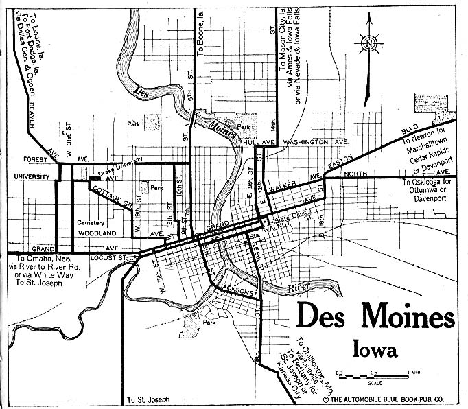 Mapa de la Ciudad de Des Moines, Iowa, Estados Unidos 1919