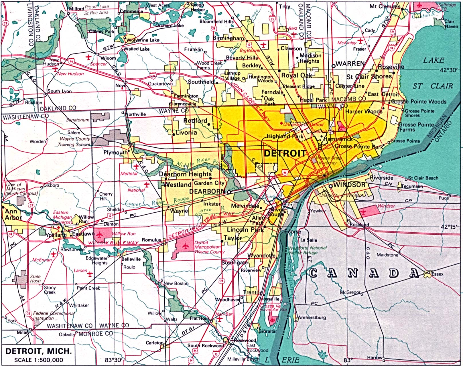 Detroit City Map, Michigan, United States
