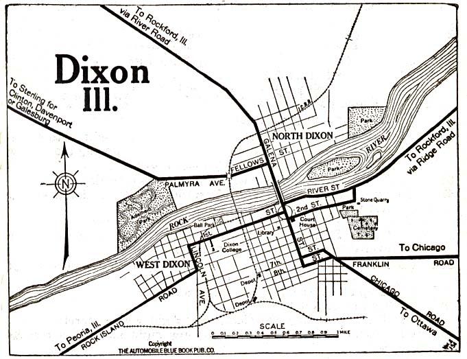 Dixon City Map, Illinois, United States 1919