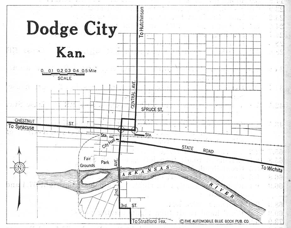 Dodge City Map, Kansas, United States 1920