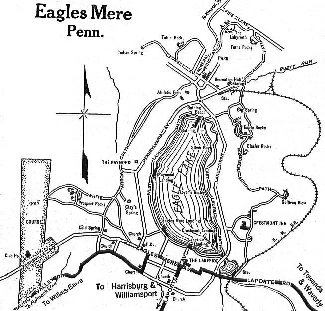 Eagles Mere City Map, Pennsylvania, United States 1920