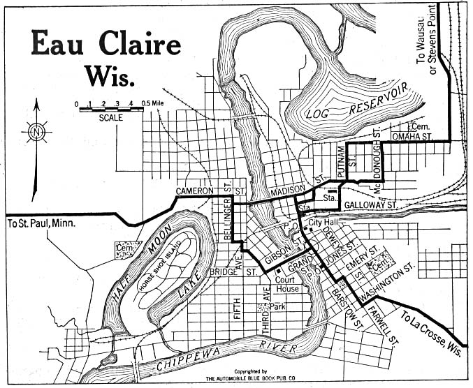 Eau Claire, City Map, Wisconsin, United States 1919