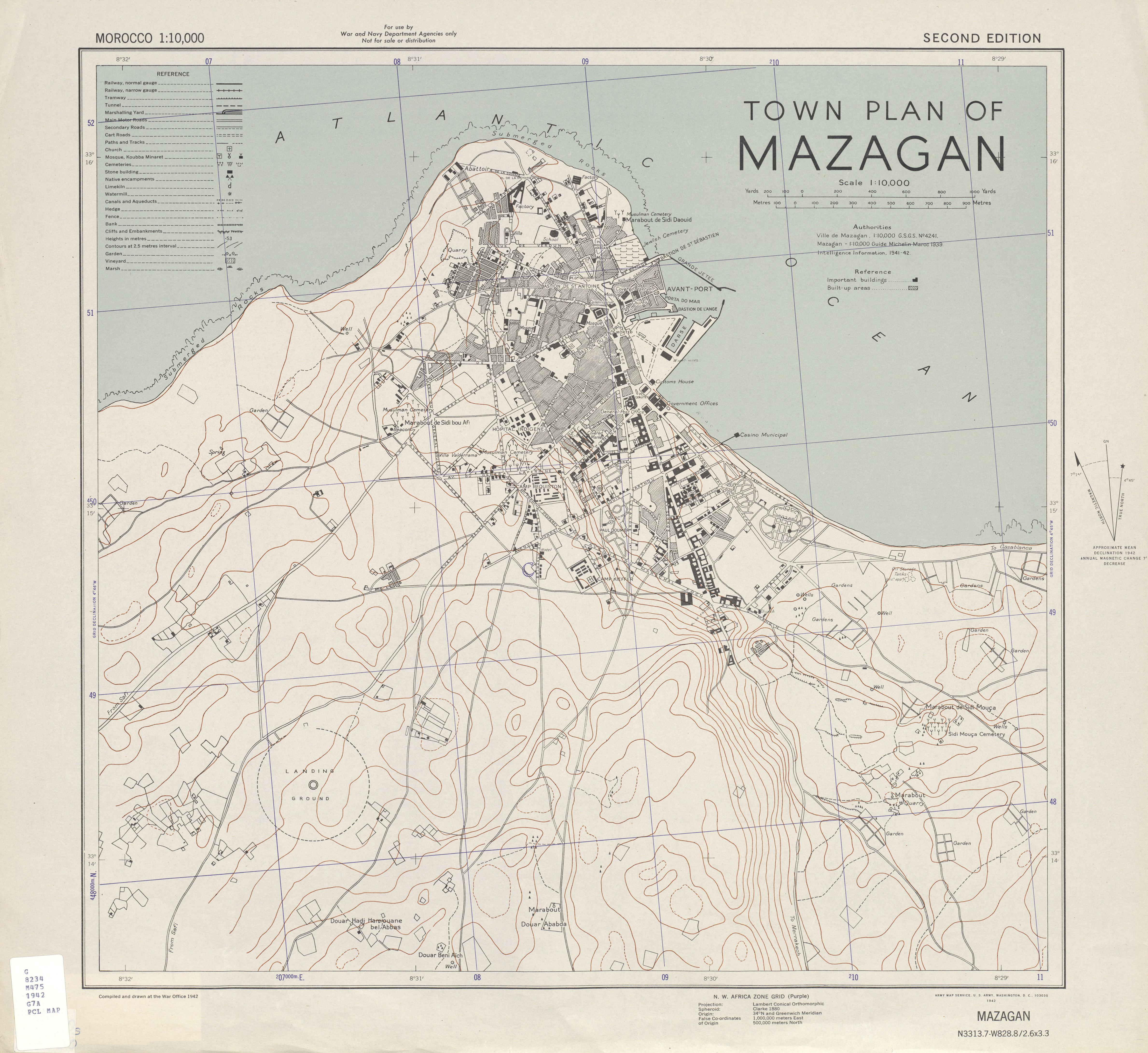 El Jadida (Mazagan) City Map, Morocco 1942