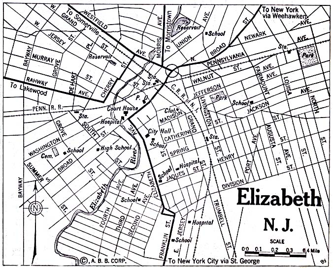 Elizabeth City Map, New Jersey, United States 1920