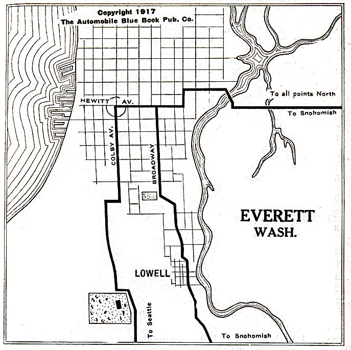 Everett City Map, Washington, United States 1917