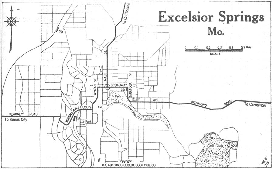 Excelsior Springs City Map, Missouri, United States 1920