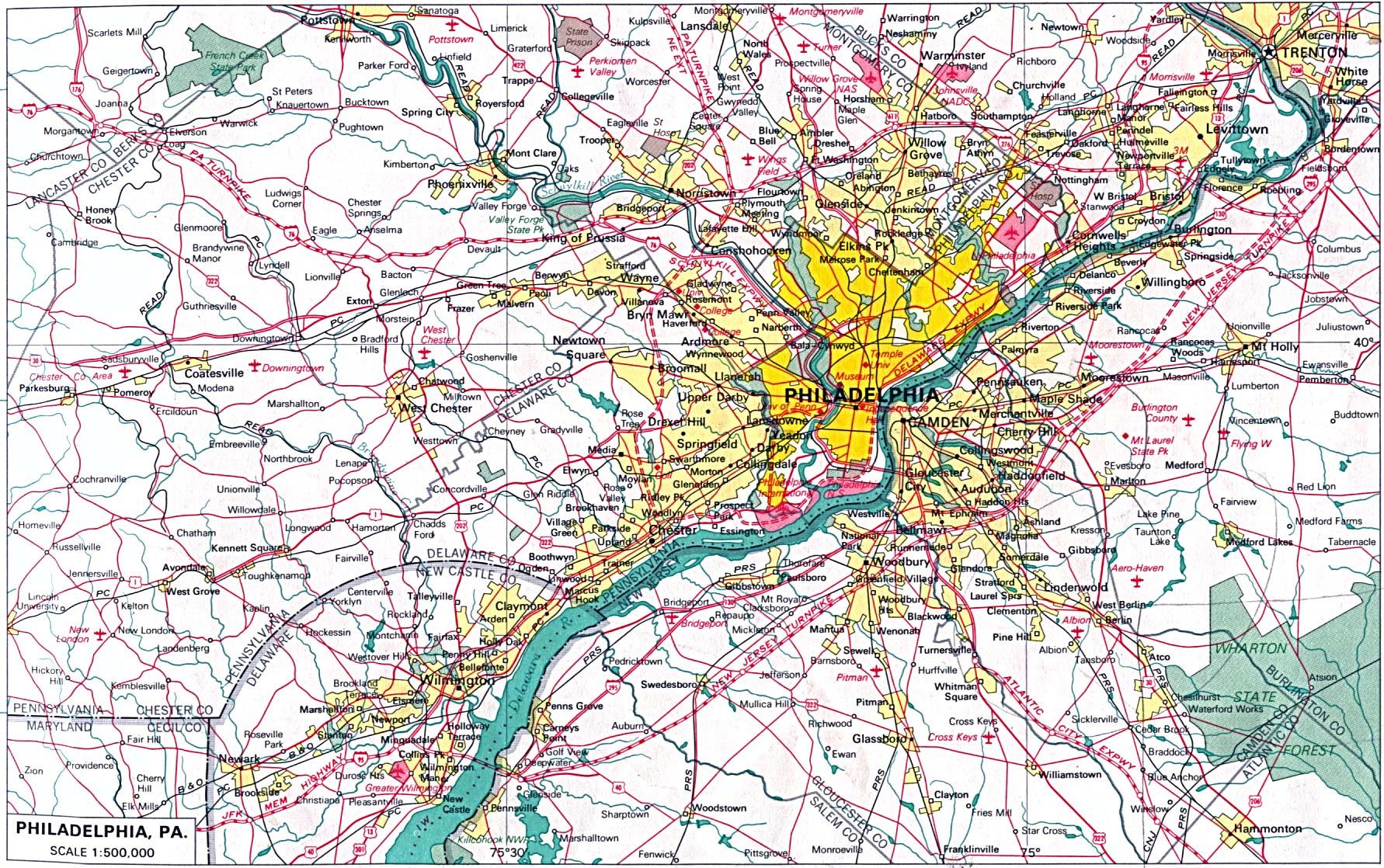 Philadelphia City Map, Pennsylvania, United States