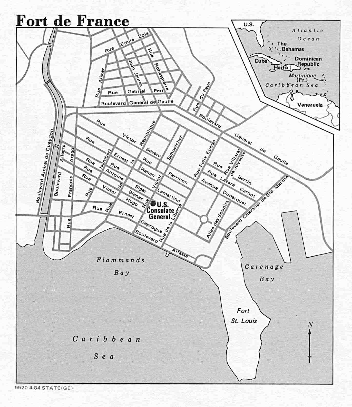 Mapa de la Ciudad de Fort-de-France, Martinica