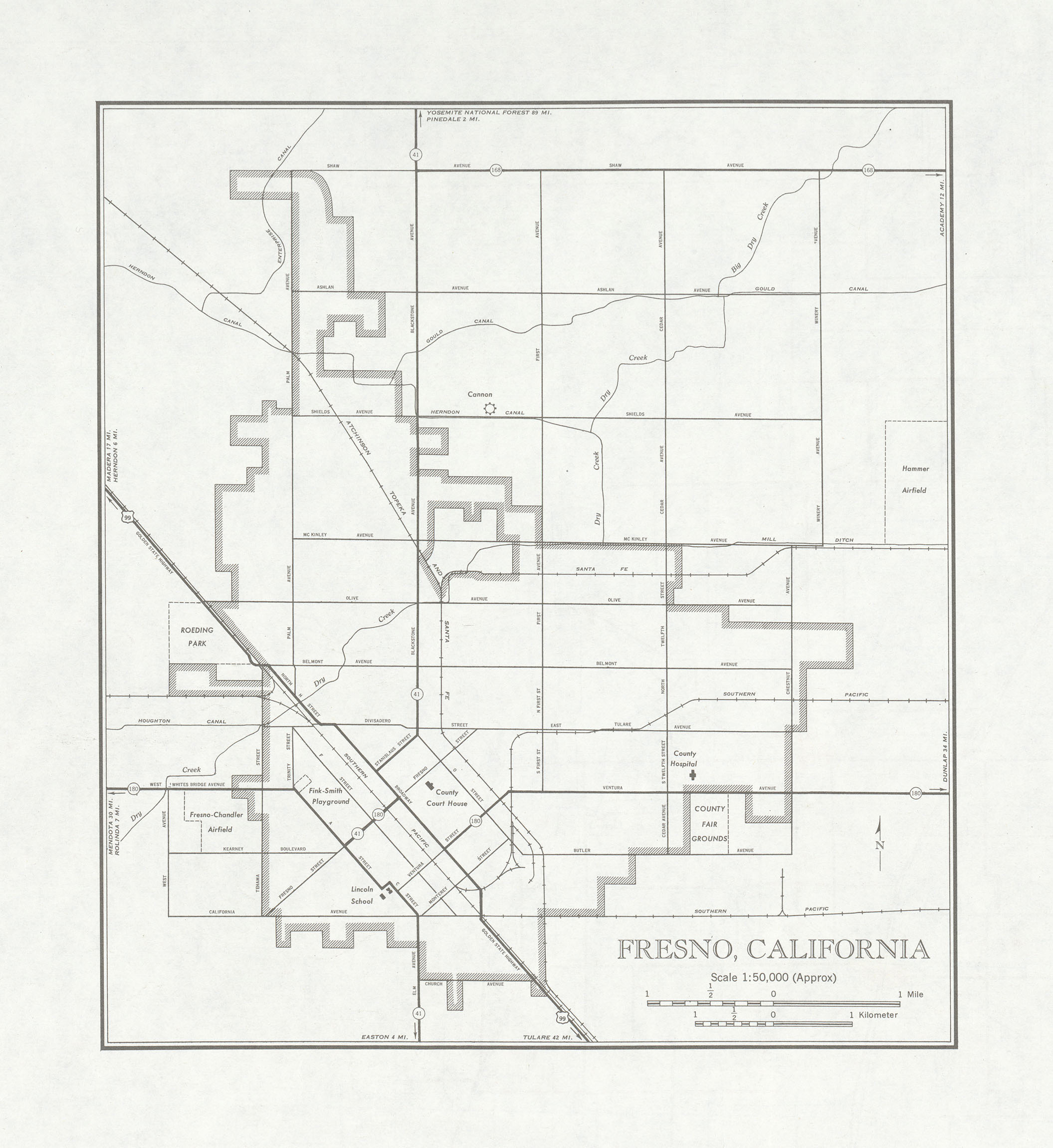 Fresno City Map, California, United States 1947