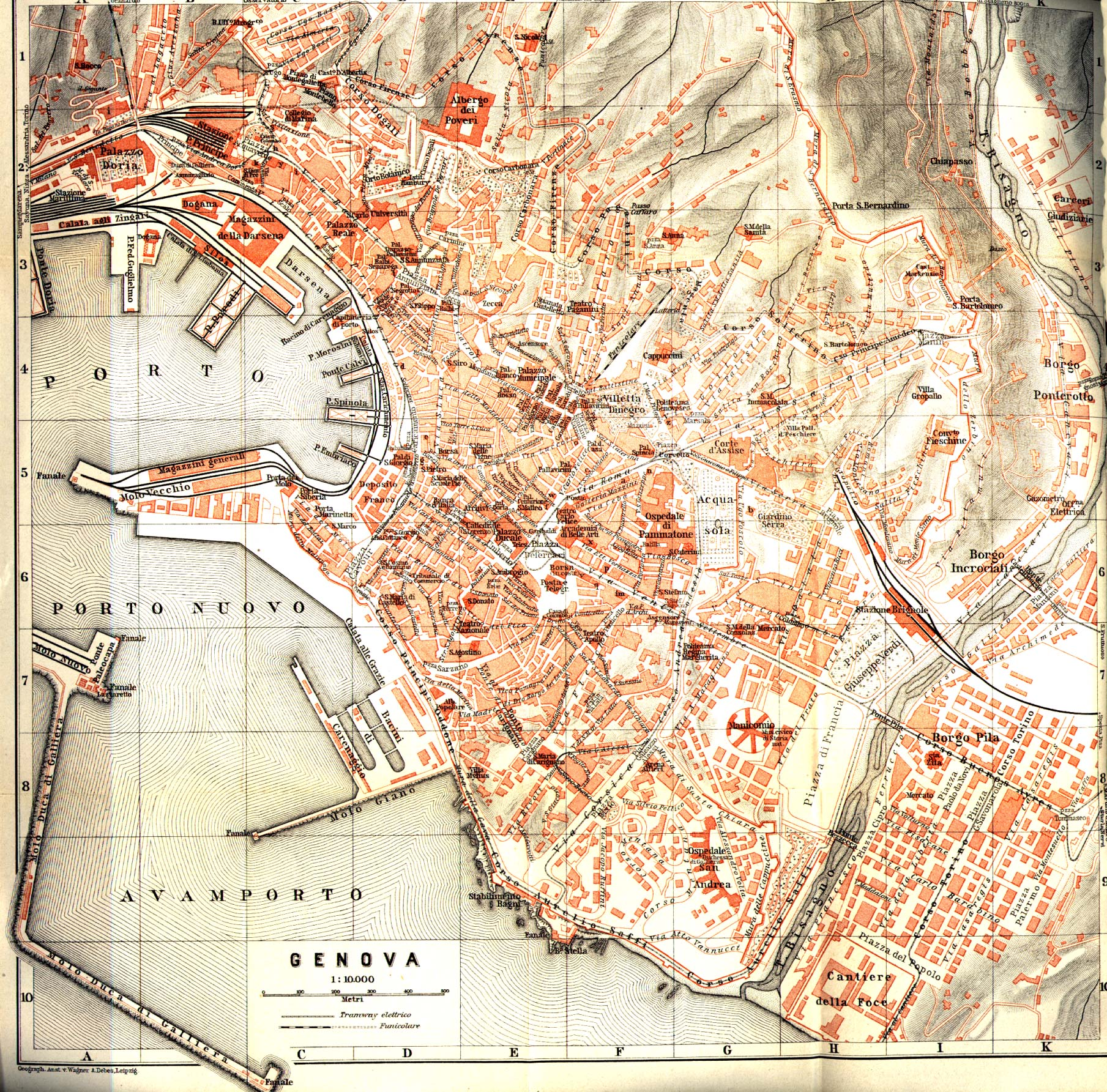 Genova (Genoa) City Map, Italy 1913