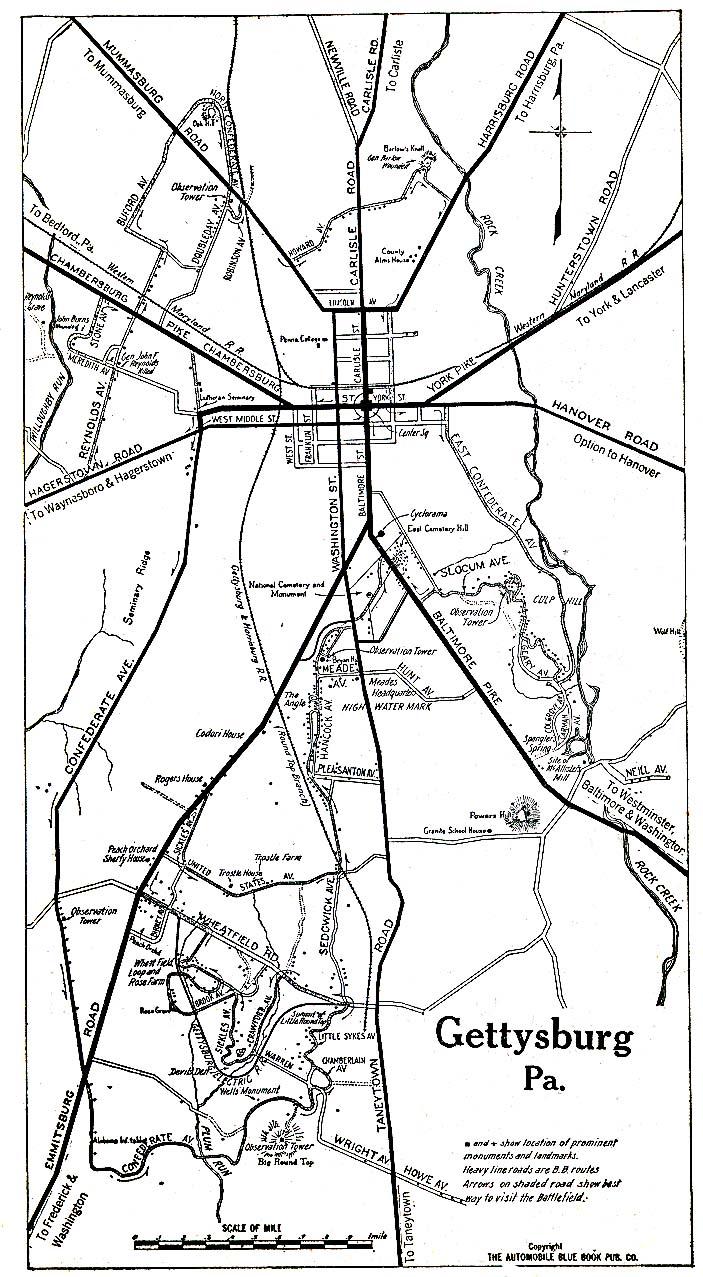 Mapa de la Ciudad de Gettysburg, Pensilvania, Estados Unidos 1920