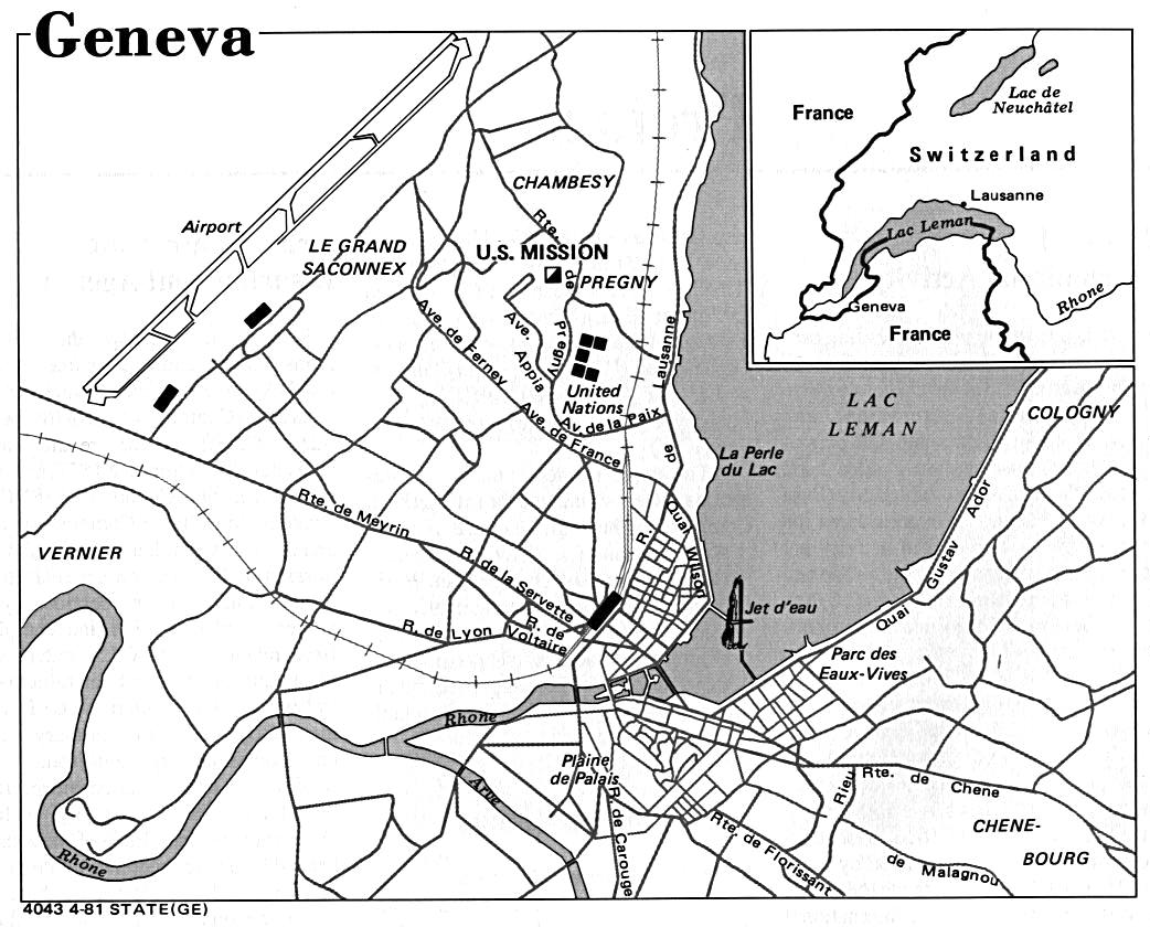Mapa de la Ciudad de Ginebra, Suiza