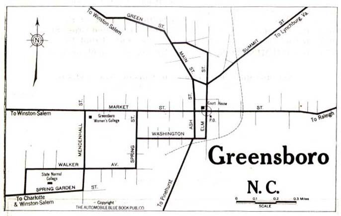 Greensboro City Map, North Carolina, United States 1919