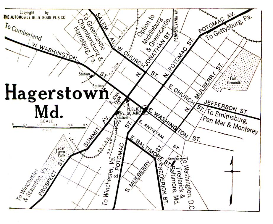 Hagerstown City Map, Maryland, United States 1920