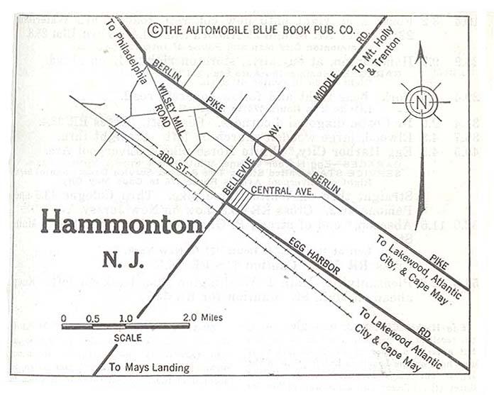 Hammonton City Map, New Jersey, United States 1920