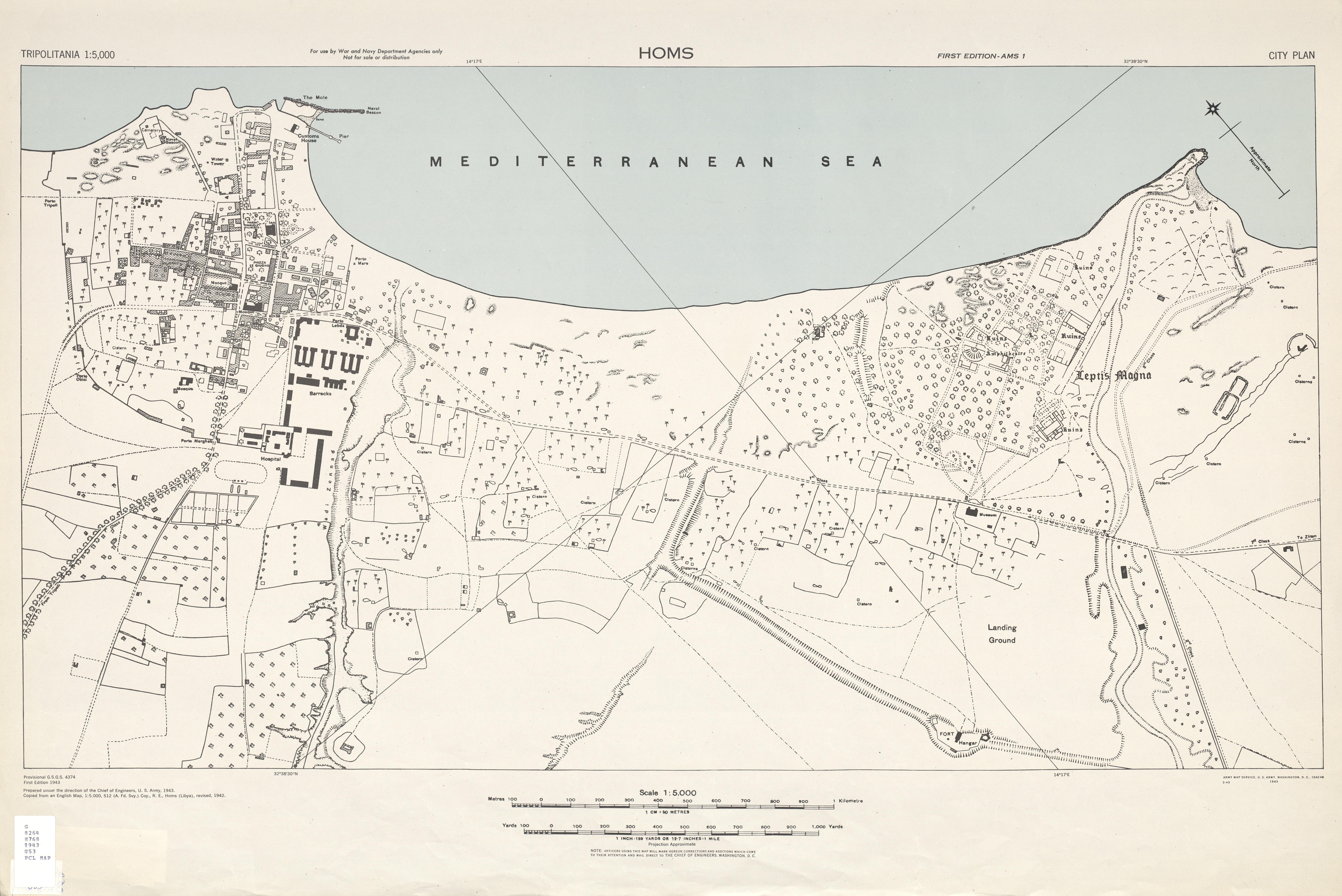 Mapa de la Ciudad de Homs, Libia 1943