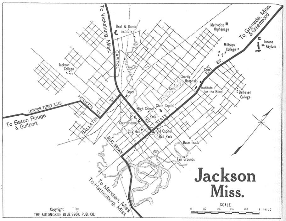 Jackson City Map, Mississippi, United States 1919