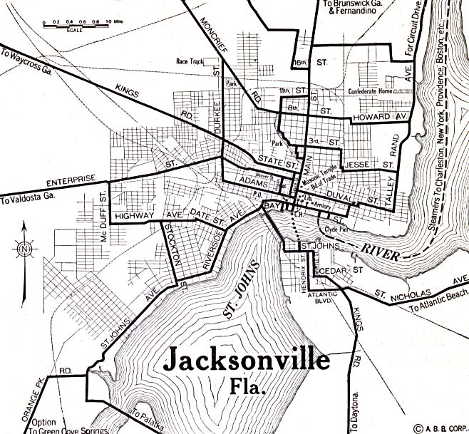 Jacksonville City Map, Florida, United States 1920