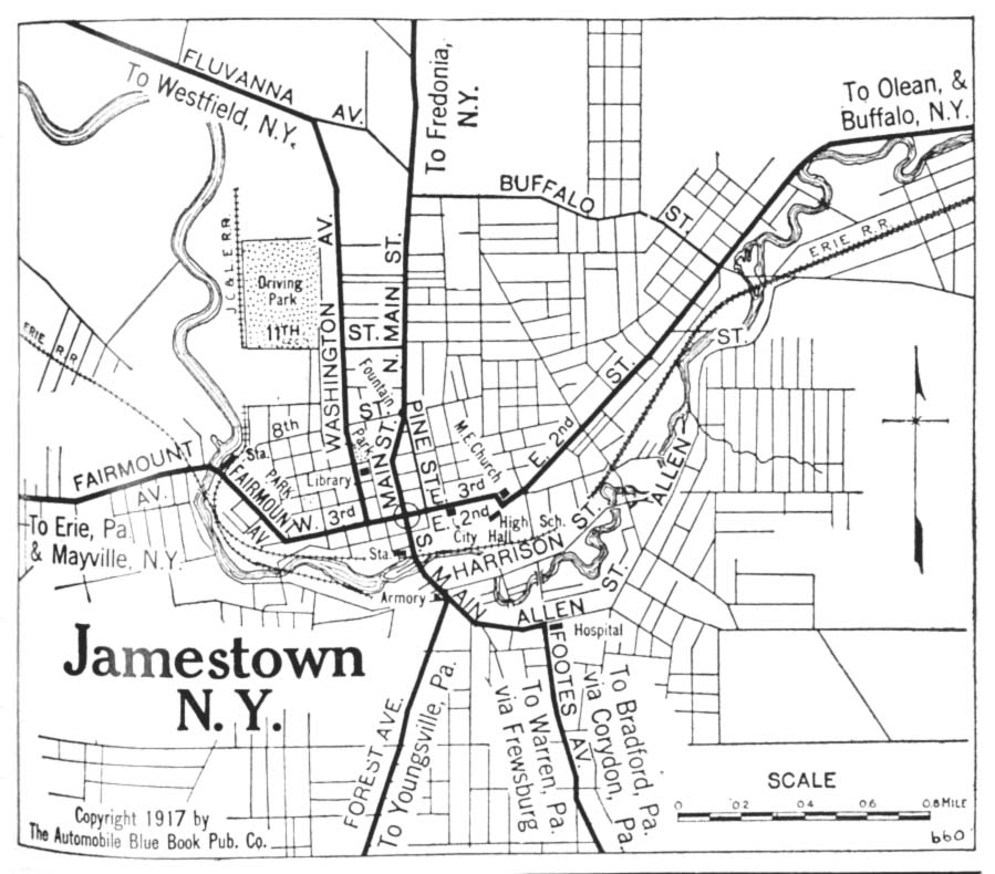 Jamestown City Map, New York, United States 1917