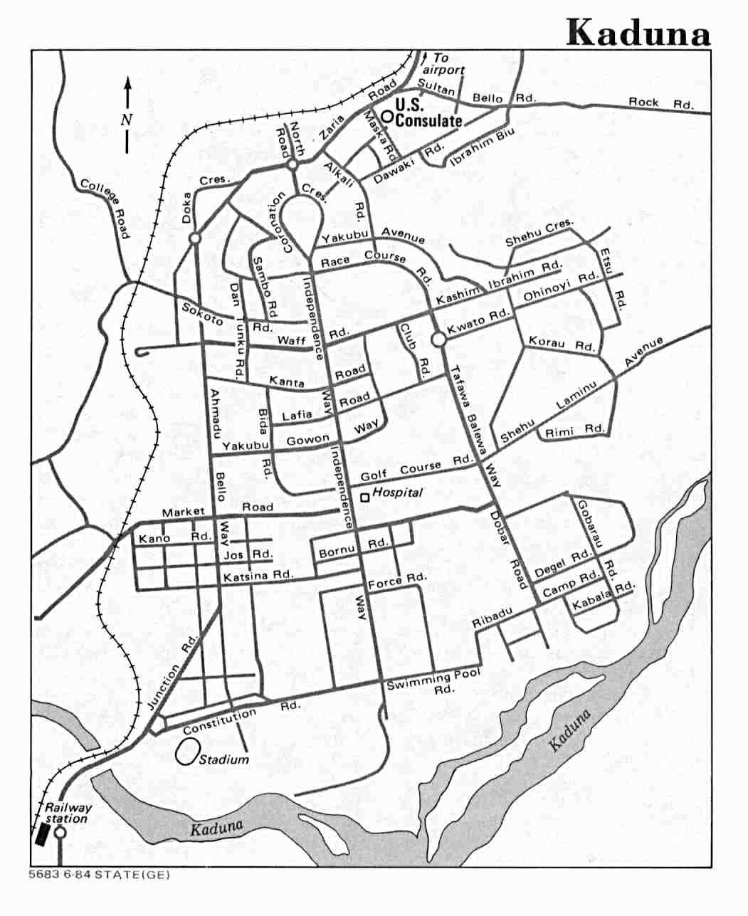 Mapa de la Ciudad de Kaduna, Nigeria