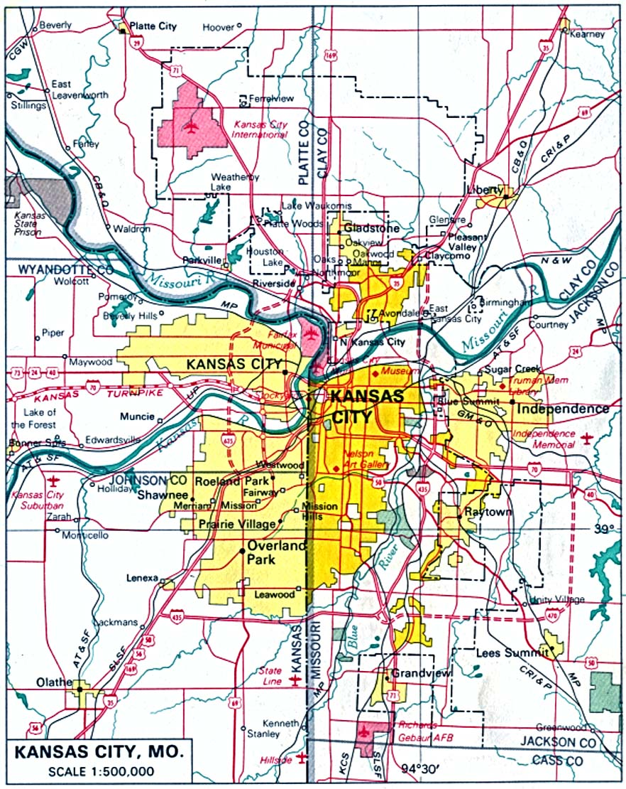 Kansas City Map, Missouri and Kansas, Kansas, United States